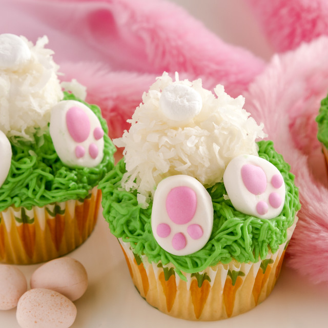 """Bunny butt lemon cupcakes Easter treat"" stock image"