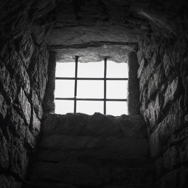 """Cellar barred window"" stock image"