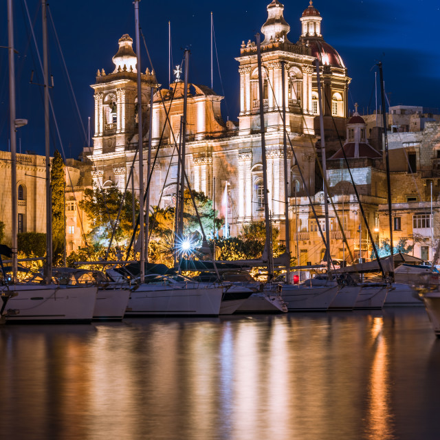 """""""St. Lawrence's Church at night, Birgu,Malta"""" stock image"""
