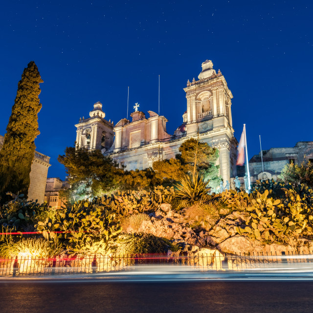 """Illuminated St. Lawrence's Church in Birgu,Malta"" stock image"