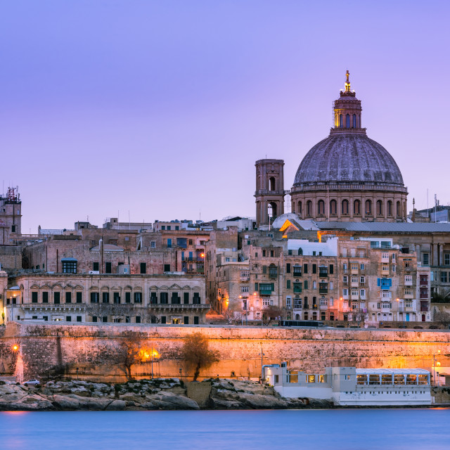 """lluminated cityscape of Valletta,Malta"" stock image"