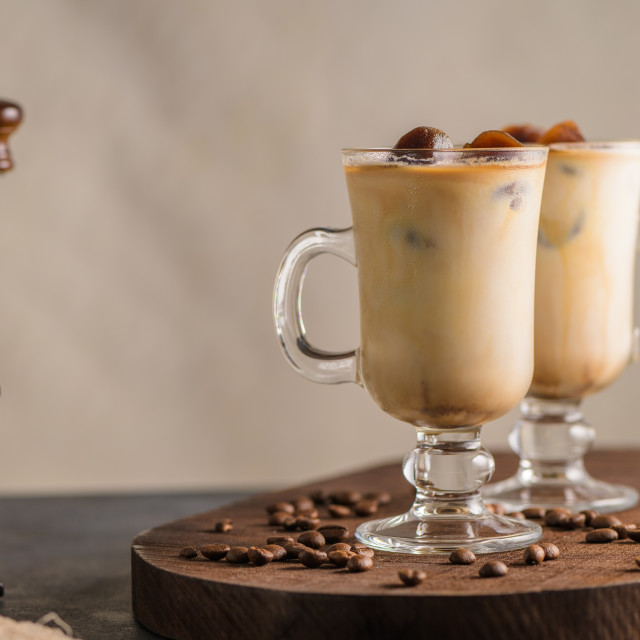 """Iced coffee in glass jars"" stock image"