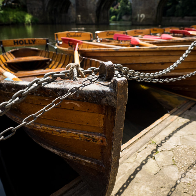 """Rowing Boats On The River Wear At Durham"" stock image"