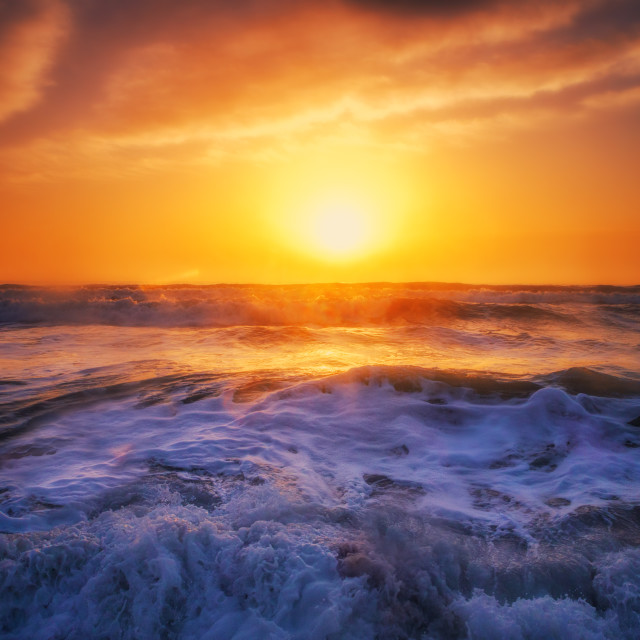 """""""Aerial view over the sea, sunrise shot"""" stock image"""