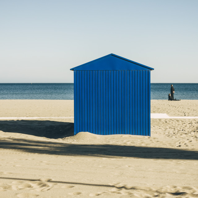 """Blue cabin at mediterranean beach, sea."" stock image"