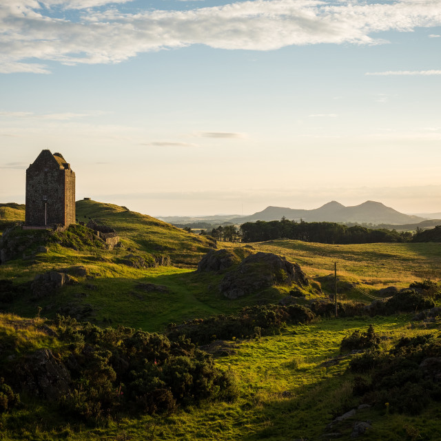 """""""Setting Sun Over Smailholm Tower"""" stock image"""