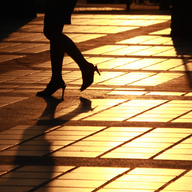 """""""Silhouette of woman wears high heel shoes"""" stock image"""