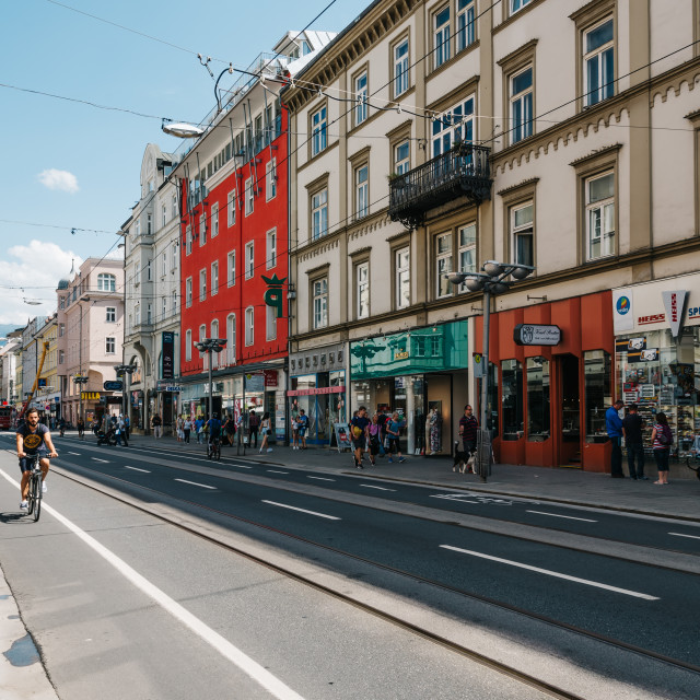 """""""Commercial street in historic centre"""" stock image"""