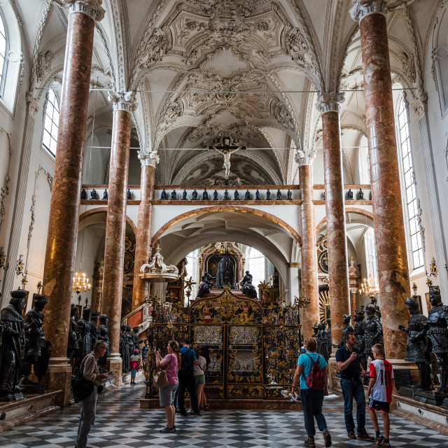 """""""Court Church in Innsbruck with the tomb of Emperor Maximilian"""" stock image"""