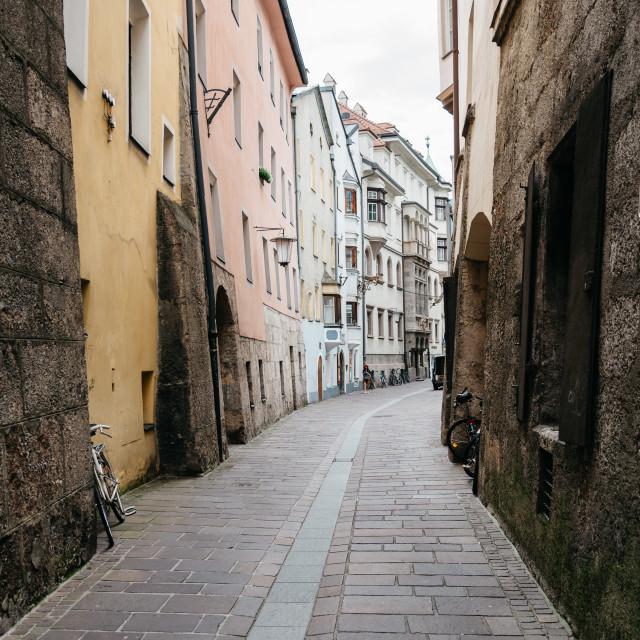 """Narrow street in historic city centre of Innsbruck"" stock image"