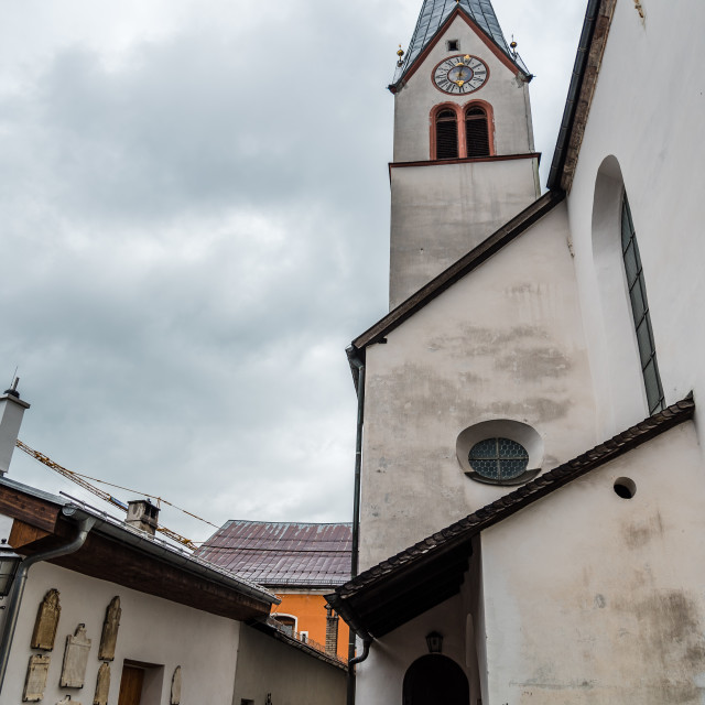 """""""Outdoor view of parish chuch of Rattenberg"""" stock image"""
