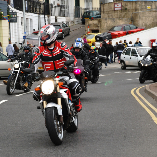 """May Day motorcycle run, Hastings"" stock image"