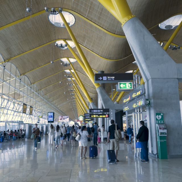 """Madrid, Spain Barajas International Airport Terminal interior."" stock image"
