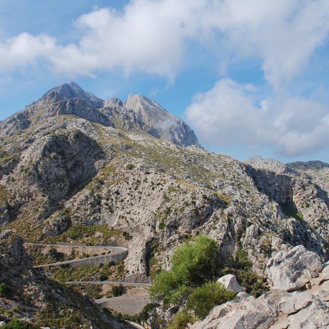 """Road down to Sa Calobra, Majorca"" stock image"