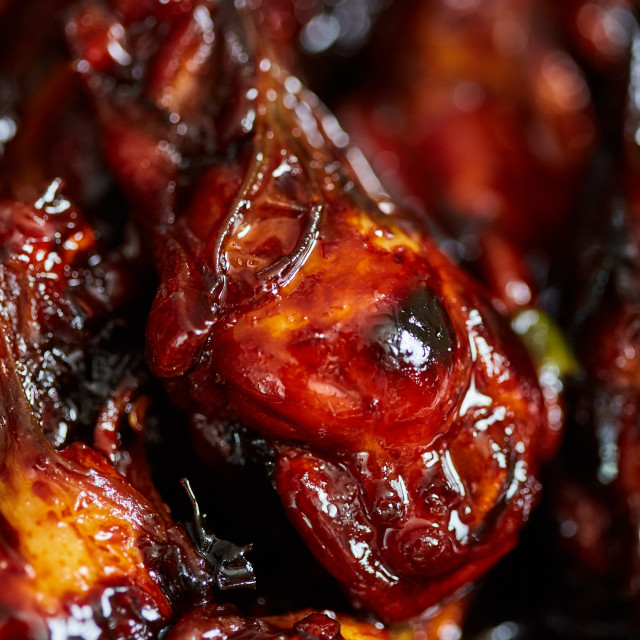 """""""Caramelized chicken wings in closeup"""" stock image"""