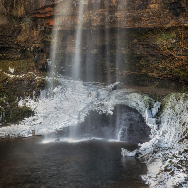 """Winter at Henrhyd Falls"" stock image"