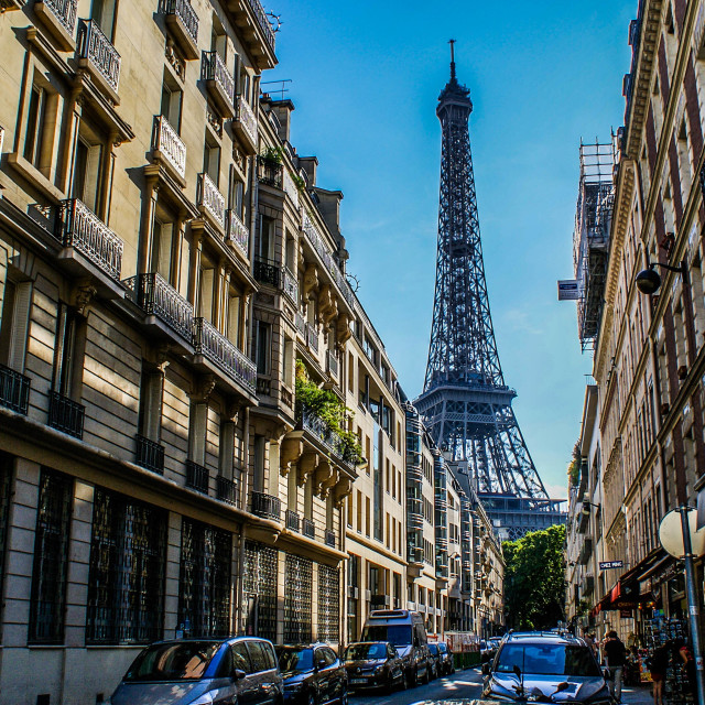 """""""Eiffel Tower From The Streets"""" stock image"""