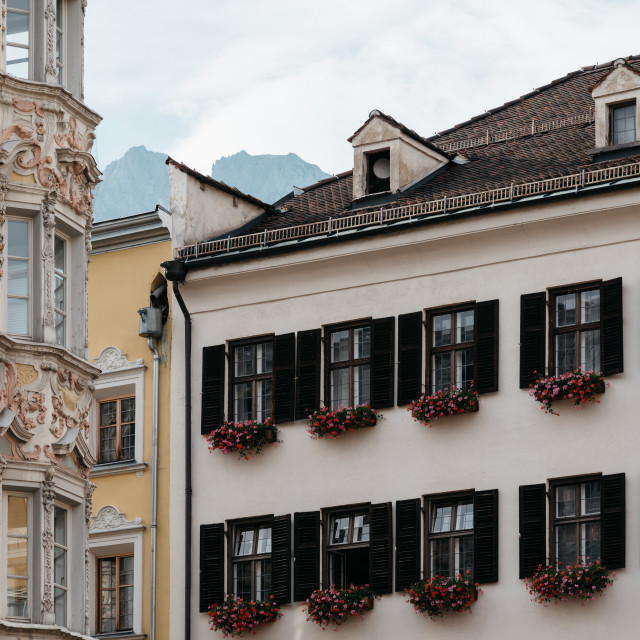 """""""Low angle view of old buildings in old town of Innsbruck"""" stock image"""