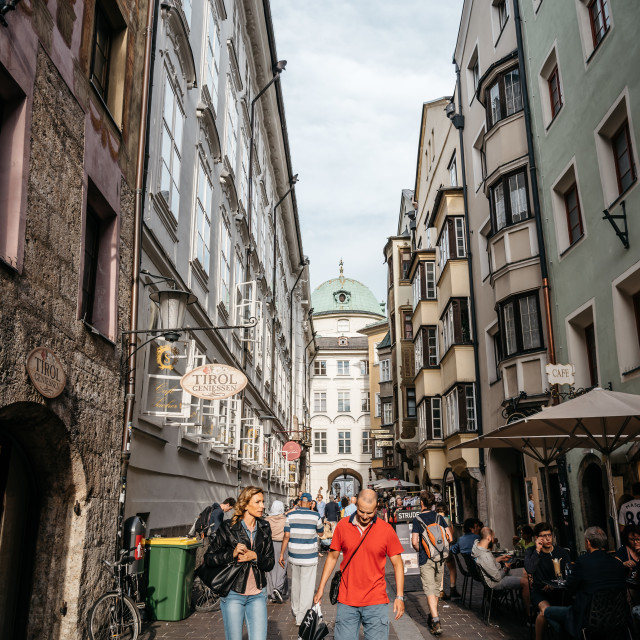 """""""Picturesque street in historic city centre of Innsbruck"""" stock image"""