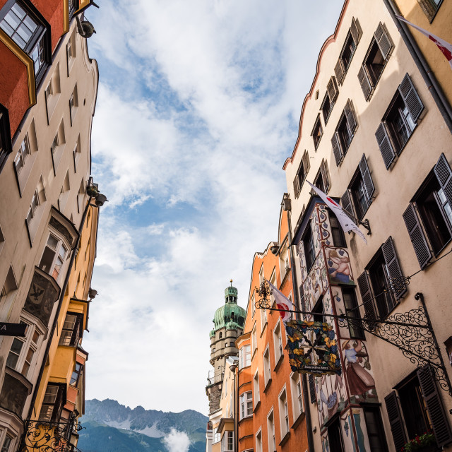 """""""Low angle view of City Tower in Old Town of Innsbruck"""" stock image"""
