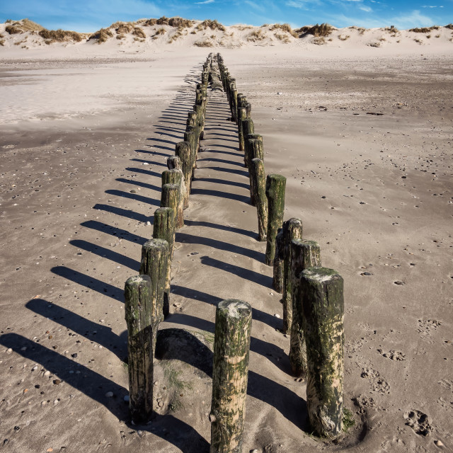 """""""Coats protection in Blaavand at the North sea coast"""" stock image"""