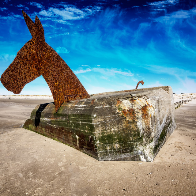 """""""World war 2 bunkers with decoration as sea horses in blaavand at the North..."""" stock image"""