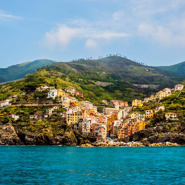 """""""Riomaggiore from the Sea"""" stock image"""