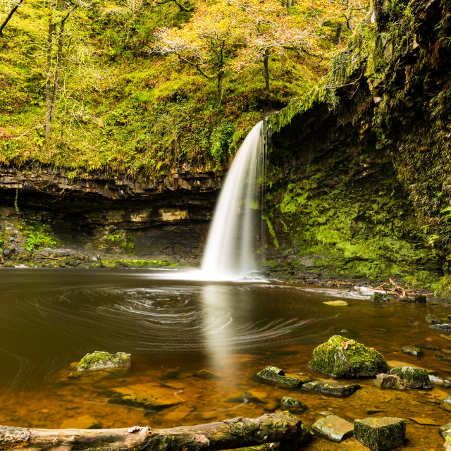 """A Waterfall in Autumn"" stock image"