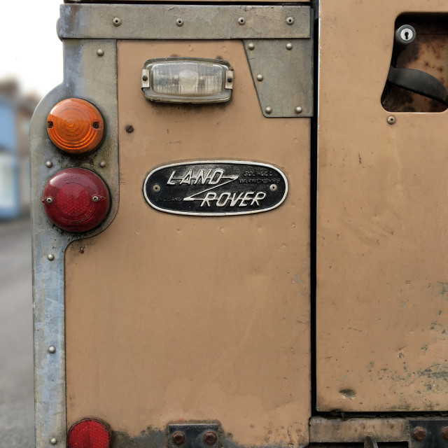 """""""Classic Land Rover Rear Panel and Badge"""" stock image"""