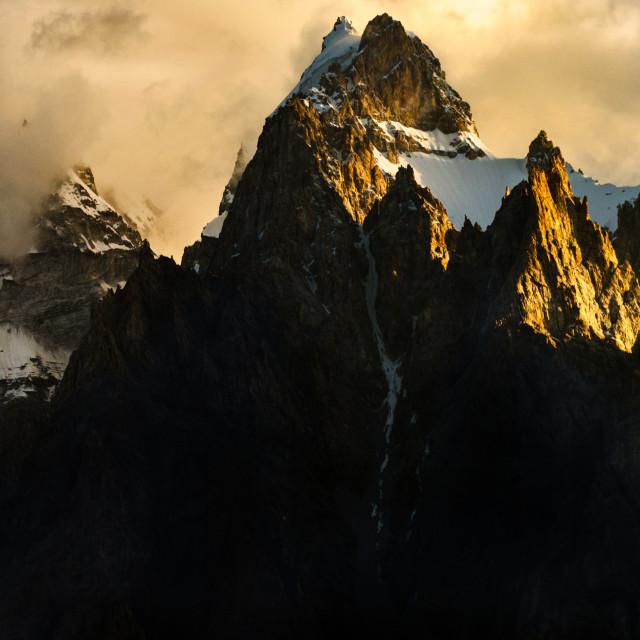 """Passu cathedral in a morning sunrise, Passu village, Gilgit-Baltistan,Pakistan"" stock image"