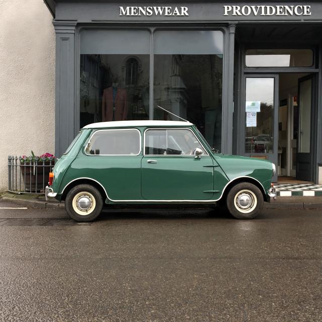 """Classic Mini car outside a menswear shop"" stock image"