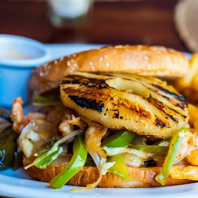 """Shrimp Burger"" stock image"