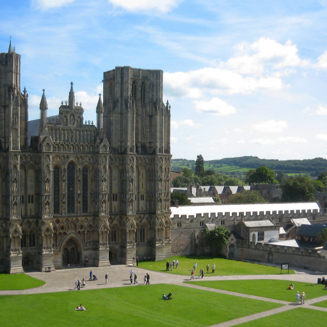 """""""Wells Cathedral and Cathedral Green"""" stock image"""