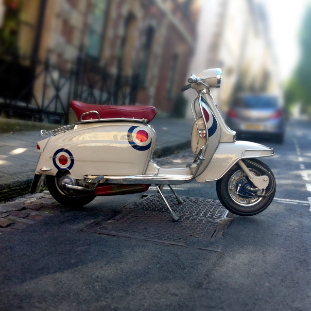 """""""Lambretta scooter parked on the street"""" stock image"""