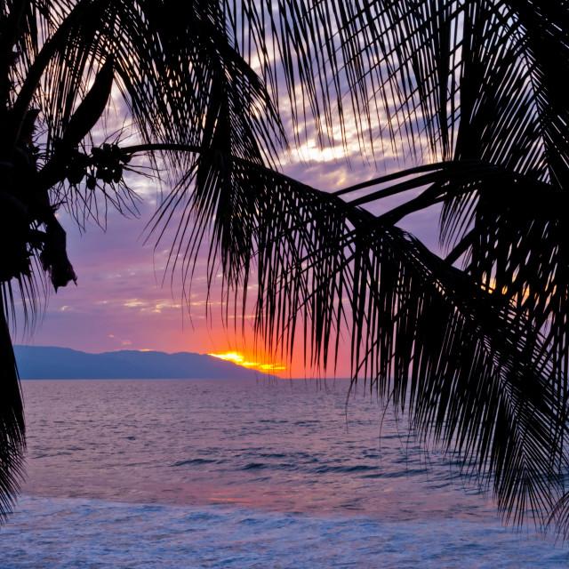 """""""Setting Sun in Puerto Vallarta"""" stock image"""