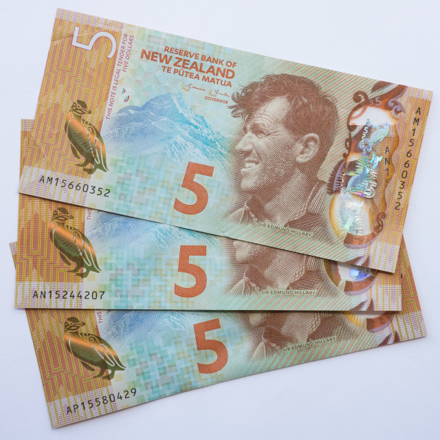"""NZ five Dollar Notes"" stock image"