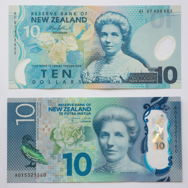 """New Zealand Old and New Ten Dollar note"" stock image"