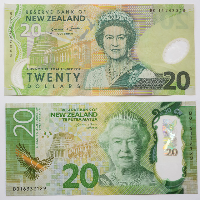 """New Zealand Old and New Twenty Dollar note"" stock image"