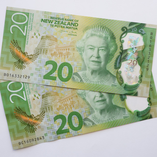 """NZ Twenty Dollar Notes"" stock image"
