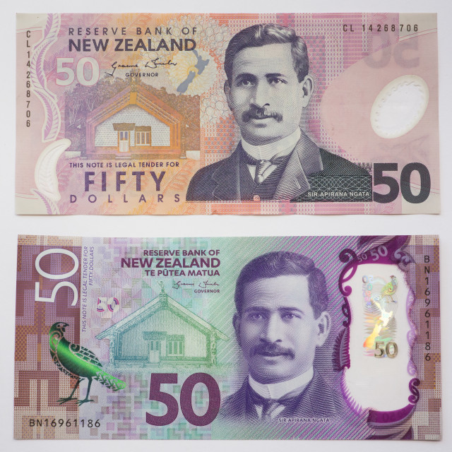"""""""New Zealand Old and New Fifty Dollar note"""" stock image"""