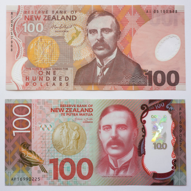 """""""New Zealand Old and New One Hundred Dollar note"""" stock image"""