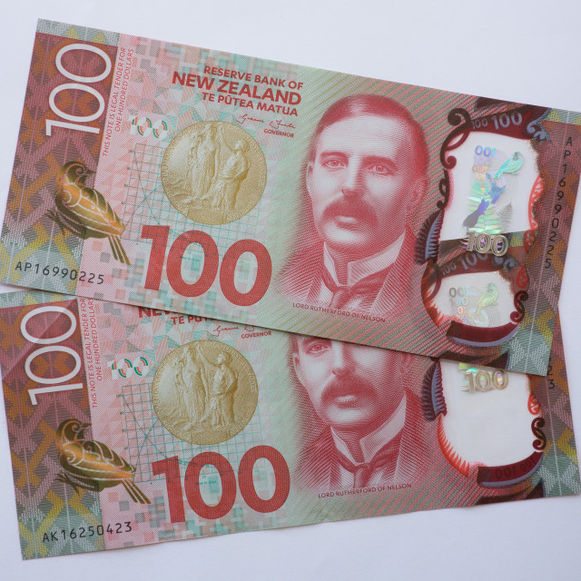 """""""NZ One Hundred Dollar Notes"""" stock image"""