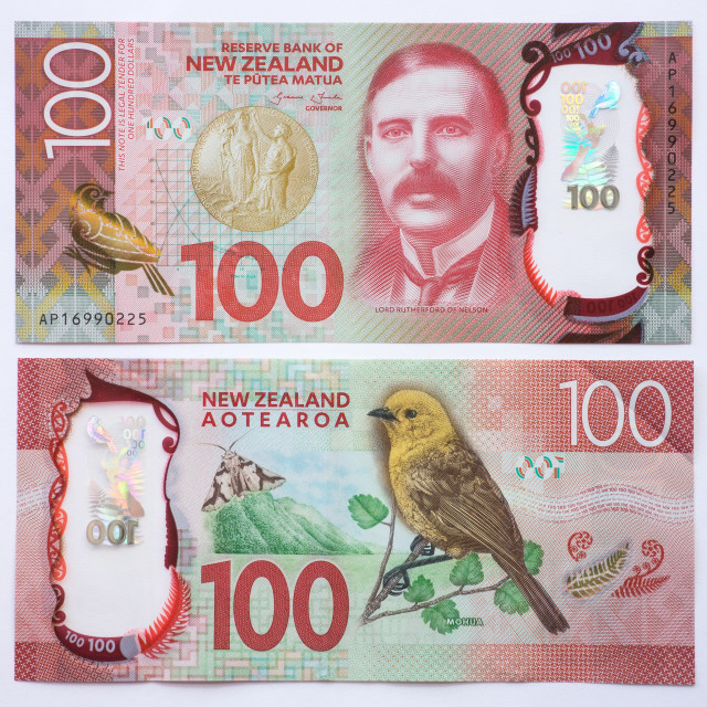 """""""New Zealand One Hundred Dollar Note Front and Back"""" stock image"""