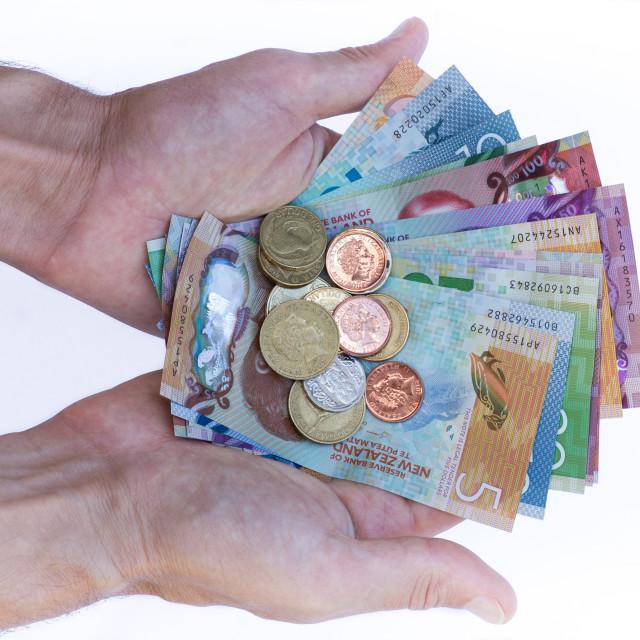 """""""Handful of New Zealand Money"""" stock image"""