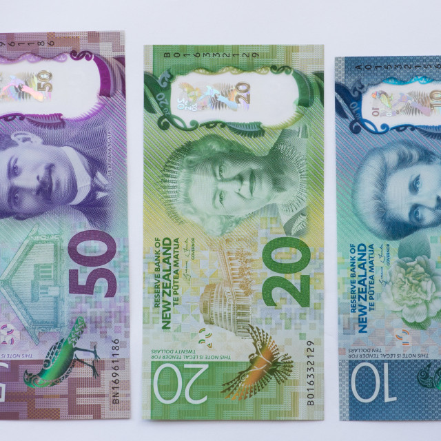 """""""Front of New Zealand Bank Notes"""" stock image"""