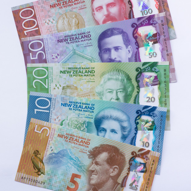 """""""Front of New Zealand Money Fanned out"""" stock image"""