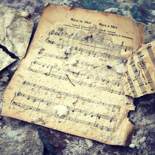 """""""Music sheets in abandoned Chernobyl"""" stock image"""