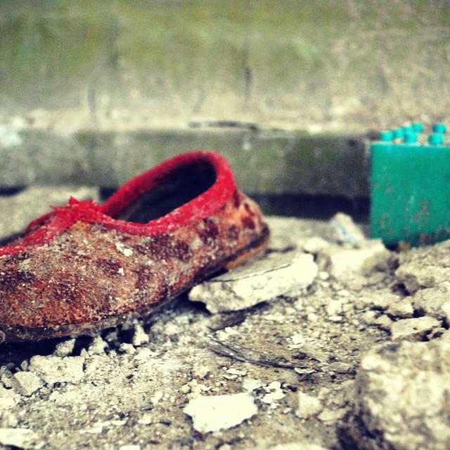 """Abandoned school shoe - Pripyat, Chernobyl"" stock image"