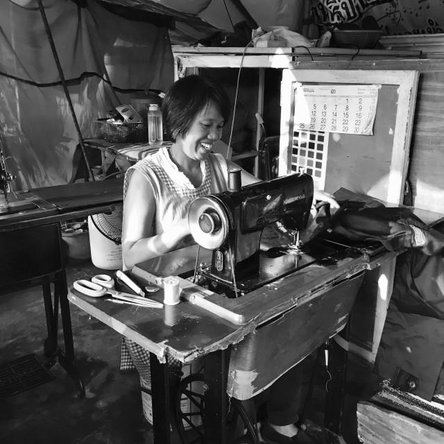 """""""Seamstress, Chiang Mai"""" stock image"""