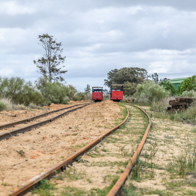 """Barril Beach Trains Portugal"" stock image"